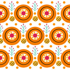 Seamless stripe pattern with cock in Russian Dymkovo style. Vector illustration.