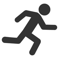 Running Man icon. Vector style is flat iconic symbol with rounded angles, gray color, white background.