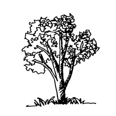 Doodle tree icon hand draw illustration design