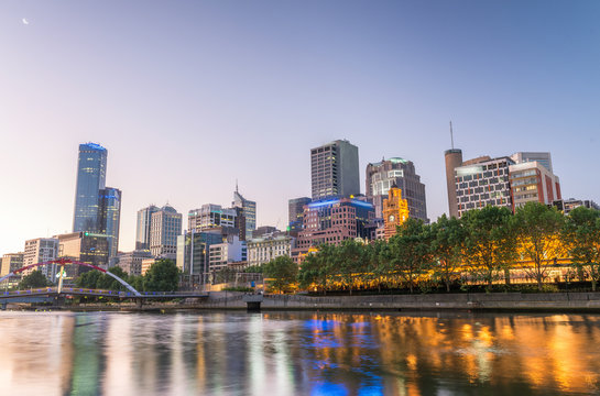 Beautiful Melbourne sunset skyline with Yarra river reflections