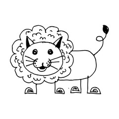 doodle lion icon hand draw illustration design by Jaidee Family