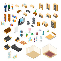 Vector illustration of isometric furniture elements and objects Icon Set.