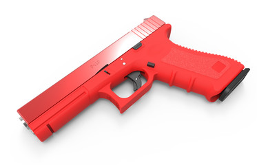 Isolated pistol on white background. 3D render