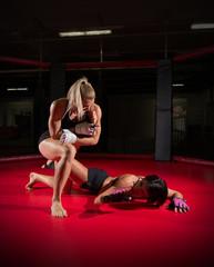 Two wrestler woman