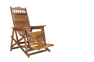 wooden deck chair in retro style isolated on white background