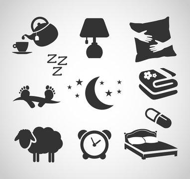 Good night - sleep icon set vector