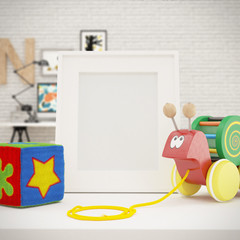 White Photo Frame Mock Up in Children Room, Vintage white wooden picture frame and Toys on a white table. Creative room full of toys, Mock Up Background, Children illustration, Kid