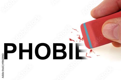 Homme effa ant le mot phobie photo libre de droits sur for Phobie chiffre 13