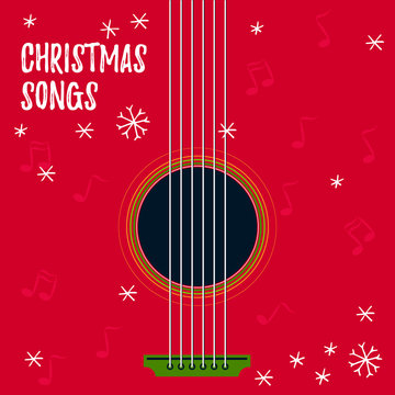 Christmas songs - vector illustration for disc cover with holiday music. Guitar with strings and snowflakes on background