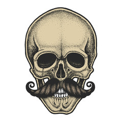 Dotwork styled skull with moustache. Hand drawn illustration. T-shirt design.