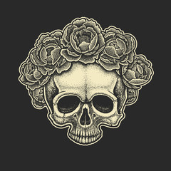 Dotwork styled skull with wreath of peonies . Hand drawn illustration. T-shirt design.