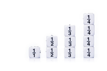 White fraction dices on white background