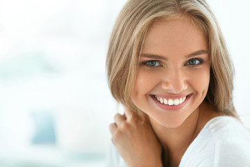 Portrait Beautiful Happy Woman With White Teeth Smiling. Beauty. High Resolution Image