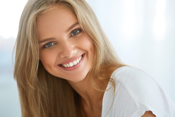 Portrait Beautiful Happy Woman With White Teeth Smiling. Beauty. High Resolution Image Wall mural