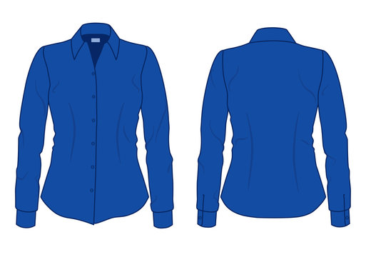 Women's blue shirt with long sleeves template, front and back view