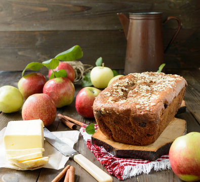 apple bread made from applesauce, with raisins, sunflower oil and whole grain flour perfect fro breakfast