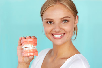 Woman With Beautiful Smile, Healthy Teeth Holding Dental Model. High Resolution Image