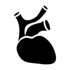 Human heart icon in simple style on a white background