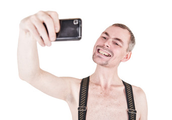Funny naked man taking selfie