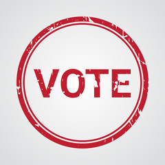 Vote red grunge round vintage rubber stamp with word vote writte
