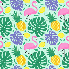 Seamless decorative background with flamingo, pineapple, lemons and green palm leaves. Tropical monstera leaves pattern with tropical fruits and exotic bird. Design for textile, wallpaper, fabric etc.