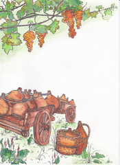 Landscape winemaker. The two illustrated angle for the page design. Ripe grapes and carts laden with pitchers.