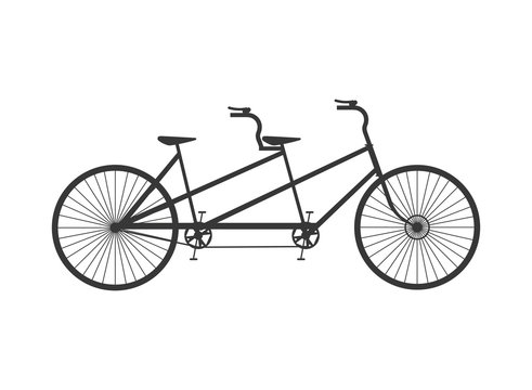 flat design tandem bicycle icon vector illustration