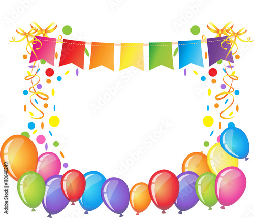 Celebration Background With Colorful Confetti, Ribbons And Balloons.Happy  Birthday Greeting Card Template.