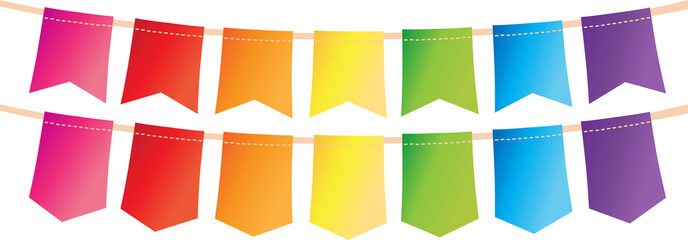 Colorful pennant bunting collection with stitch lines on white backgound design. vector illustration