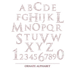 Abstract vector ornate old retro vintage alphabet and numbers
