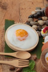 Onsen egg or soft-boiled egg is delicious.