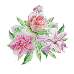Vintage card with spring flowers. Rose. Peony. Clematis. Watercolor.