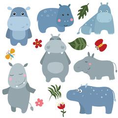 Set funny hippos