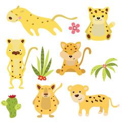 Set funny leopards