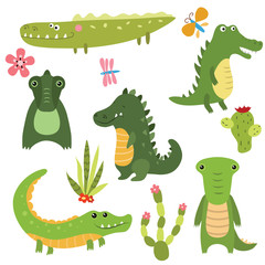 Set funny crocodiles