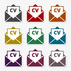 Curriculum vitae (resume) opened envelope concept, CV resume icon