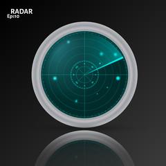 3d  radar icon on black background