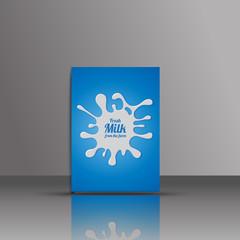 Isolated blue vector milk logo. Paint blot icon. Round emblem lo