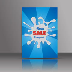 Abstract brochure design.Flyer with milk splash.Layout in A4 siz