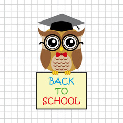 Cute owl teacher on squared background with sign back to school