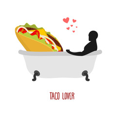 Lover taco. I love food. Fastfood and man in bath. Man and Mexic