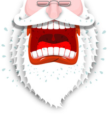Furious Santa Claus. Anger Santa with big white beard. Cursing a