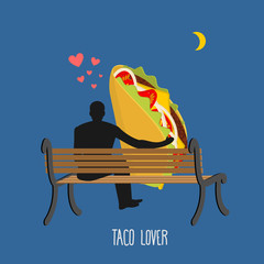 Lover taco. Mexican food and people are looking at moon. Date ni