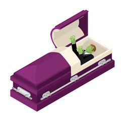 Zombie in coffin. Green dead man lying in wooden casket. Corpse