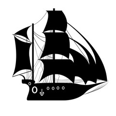 Pirate Ship, sailing ship under the black flag. Ship vector logo design template. sailboat or frigate icon. yacht. Silhouette. vector illustration.