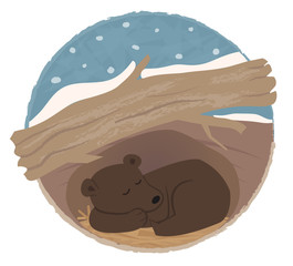 Bear Hibernating - Clip art of a bear sleeping in his den. Eps10