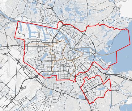 Map of Amsterdam city. Netherlands roads