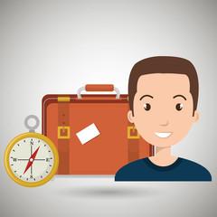 woman bag compass travel vector illustration  design