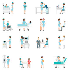 Nurse healthcare decorative icons set with patients.