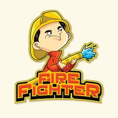 fire fighter logo illustration design